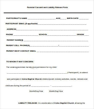 Liability Release Form Examples. Child Custody Form Sample ...