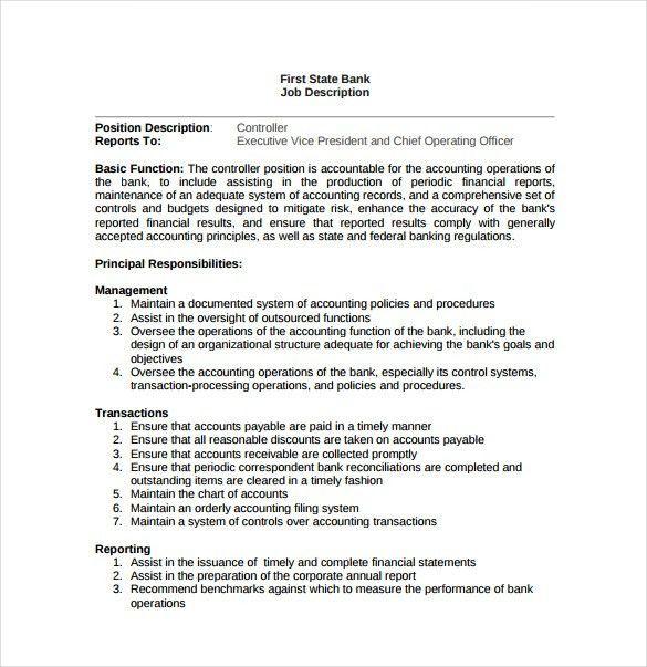 11+ Controller Job Description Templates   Free Sample, Example .  Accounting Clerk Job Description