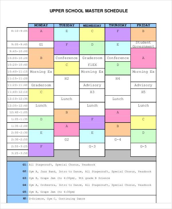 Master Schedule Templates - 11 Free Samples, Examples Format ...