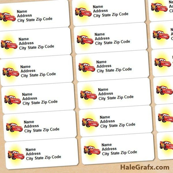 FREE Printable Disney Cars Lightning McQueen Address Labels | Arts ...