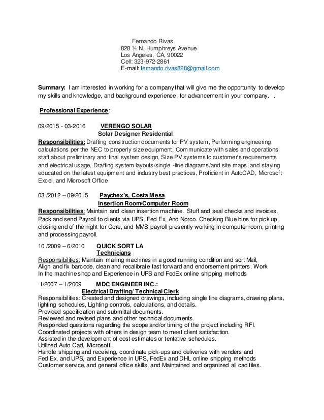 Fernando Resume and cover letter