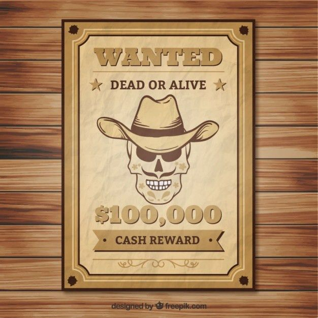 Crumpled wanted poster of skull with hat Vector | Free Download
