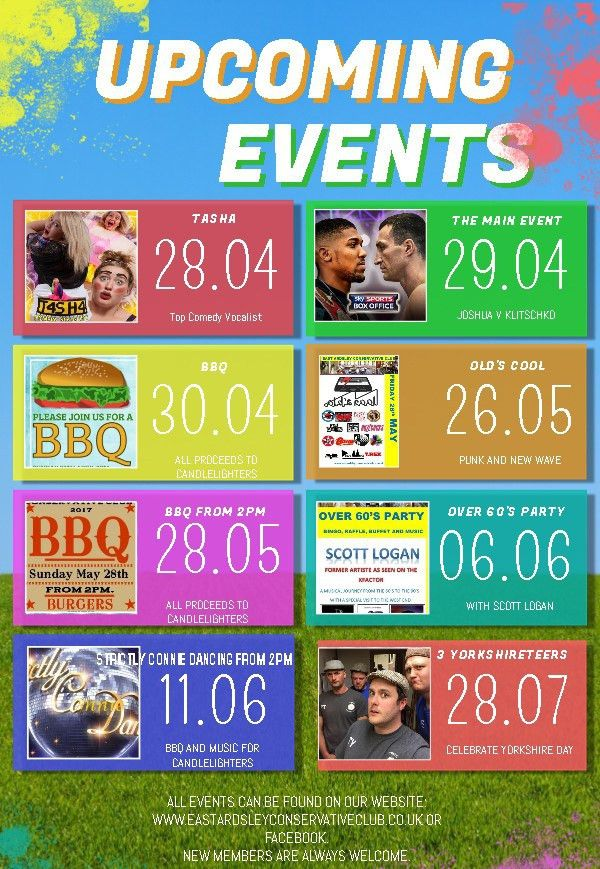 Upcoming Events Flyer Template - East Ardsley Conservative Club
