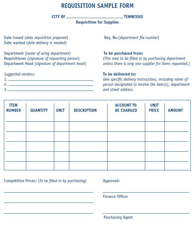 Requisition Form (Sample) | MTAS MORe