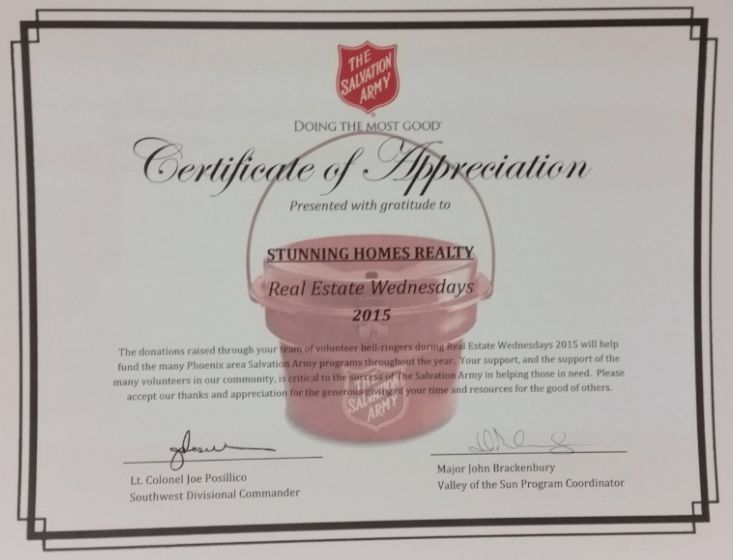 Stunning Homes Realty Gets Involved with Salvation Army Real ...