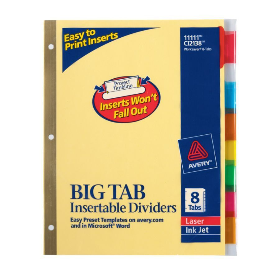Avery Big Tab Insertable Dividers Gold Reinforced 30percent ...