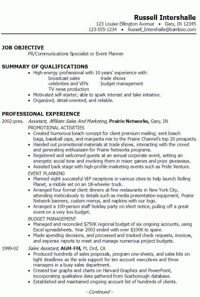 Resume: PR, Communications, Event Planning - Susan Ireland Resumes