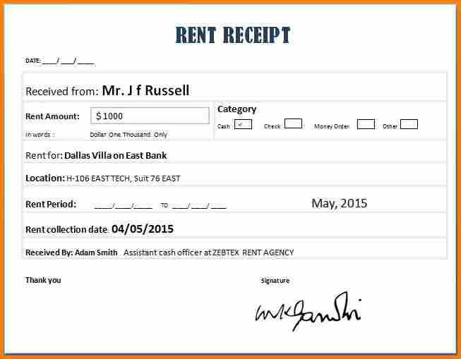 Home Rent Receipt | Pitch.billybullock.us