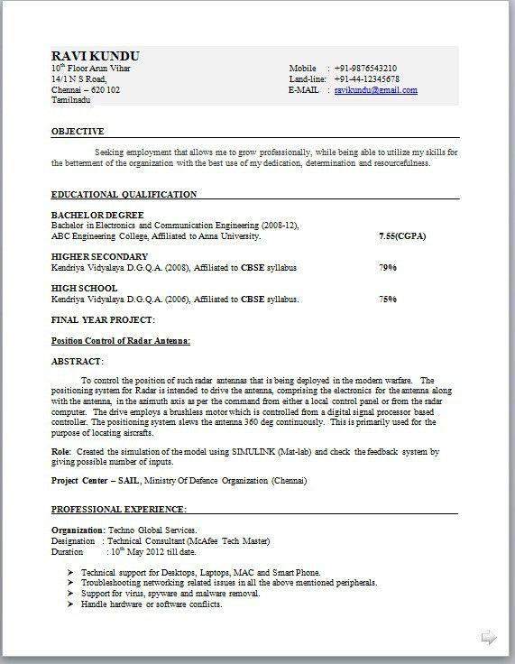 Engineer Resume Format | berathen.Com