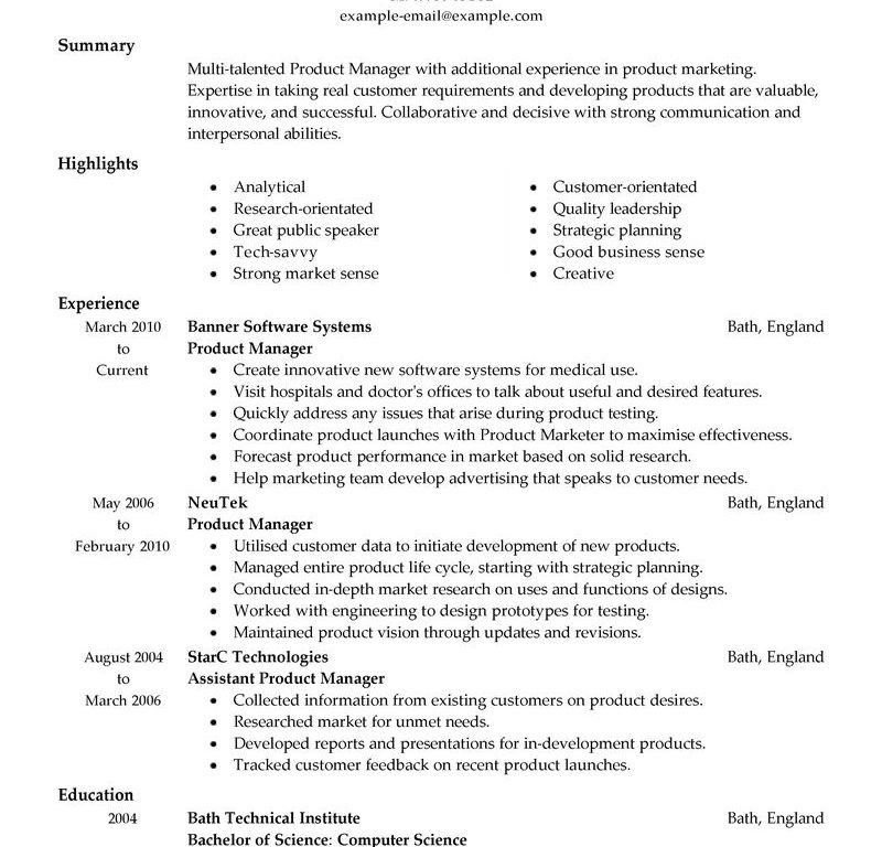 Product Manager Resume  BesikEightyCo