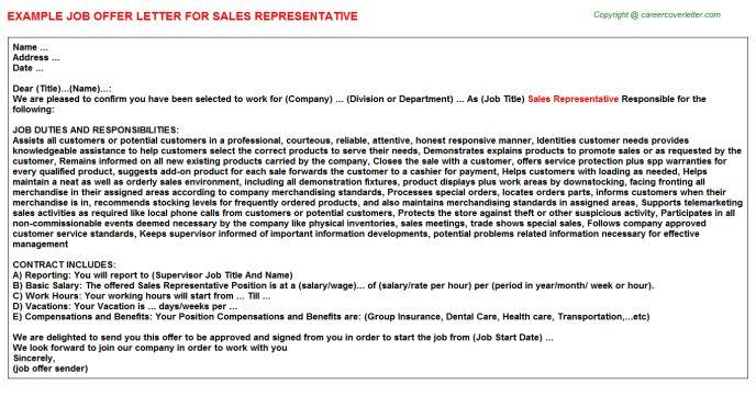 Sales Representative Offer Letters
