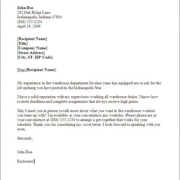 Peachy Design Ideas Warehouse Worker Cover Letter 16 Resume Letter ...