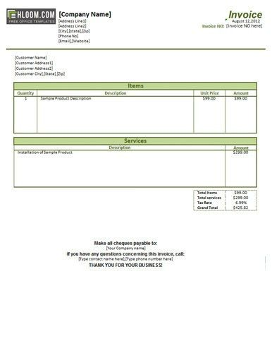 Labor Invoice Template Free | Free Business Template