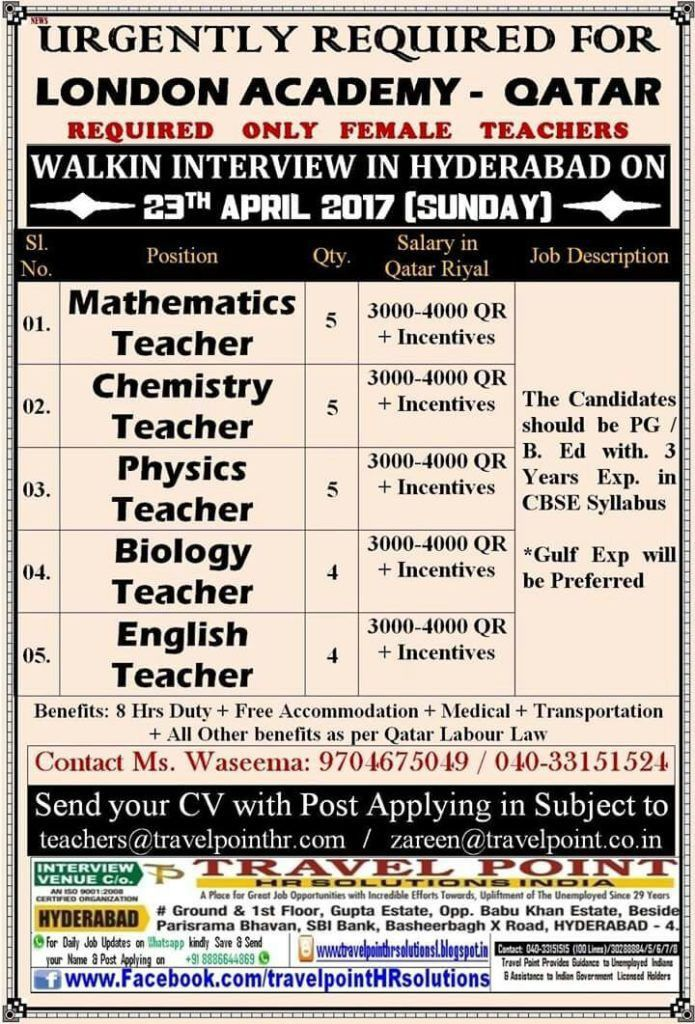 Teacher VACANCY teaching jobs in gulf