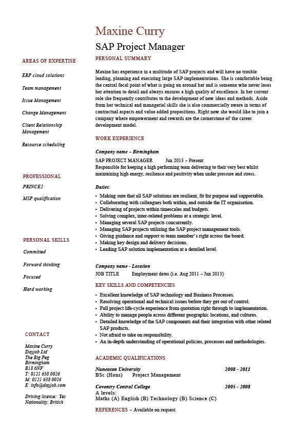 sap project manager resume sample job description career - Sample Hr Resume