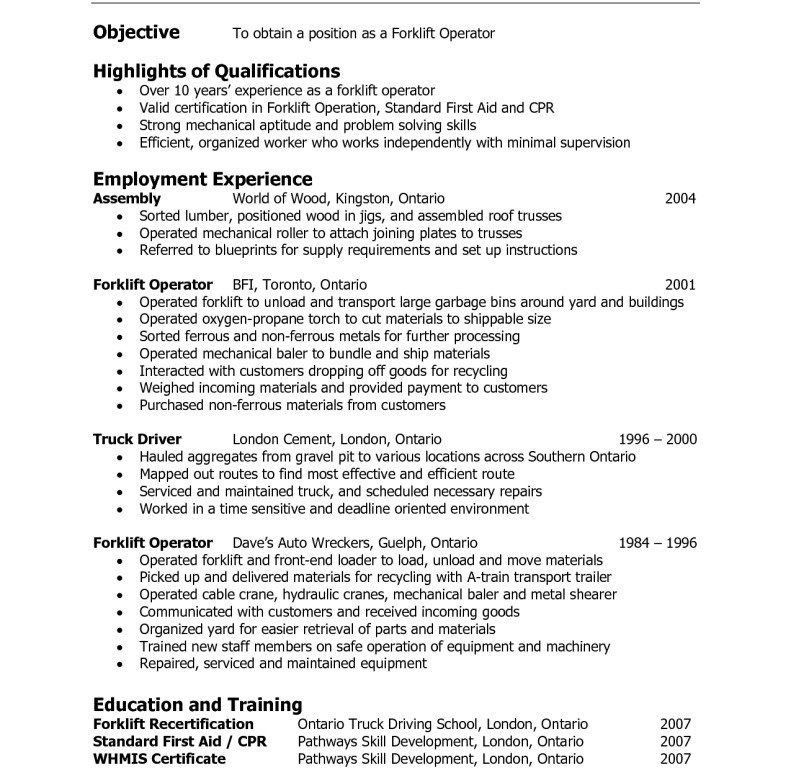 Warehouse Resume Qualifications. general resume examples general ...
