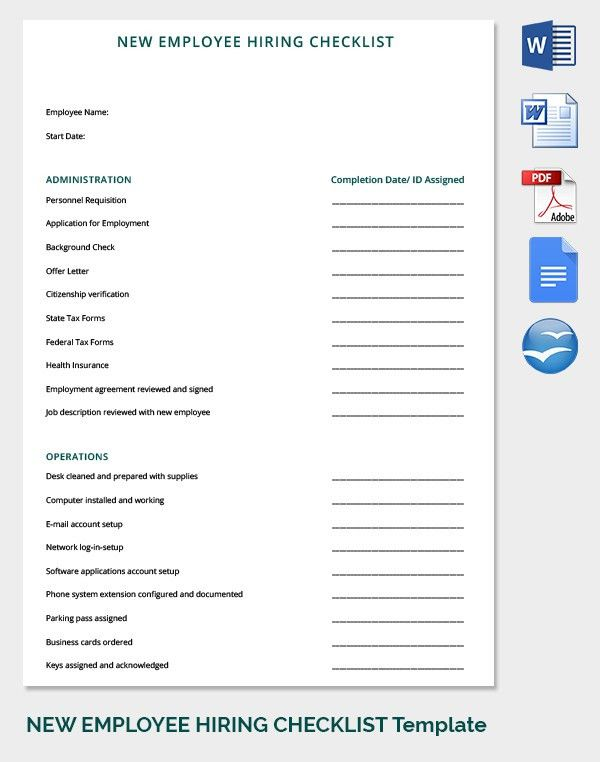 19+ HR Checklist Templates - Free Sample Example Format | Free ...