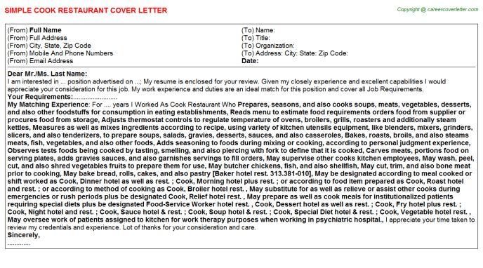 Cook Restaurant Cover Letter
