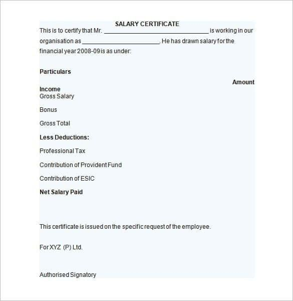 Salary certificate letter format salary certificate template 28 format of salary certificate letter jobsllybullock yadclub Images