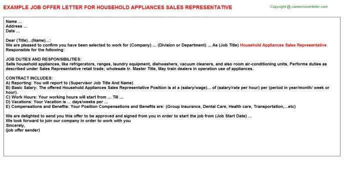 Household Appliances Sales Representative Offer Letter