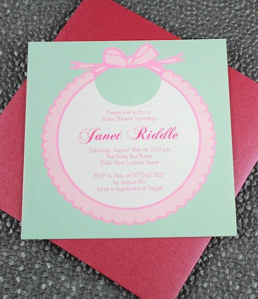 DIY Baby Girls' Bib Shower invitation template from ...