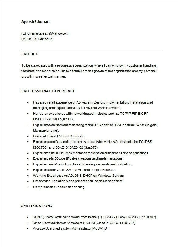 Sample Network Engineer Resume. Sample Network Engineer Resume ...