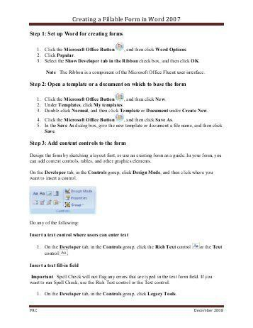 How to Create a Fill In Form with Microsoft Word