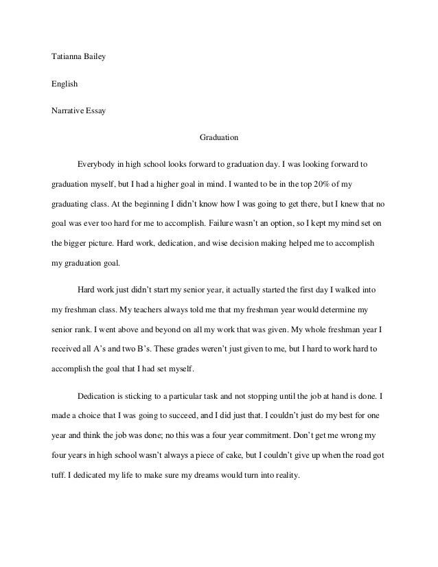 Personal narrative essay examples high school - our work
