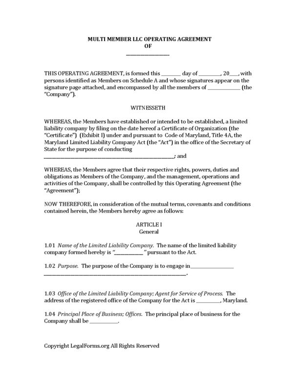 Maryland Multi Member LLC Operating Agreement | LegalForms.org