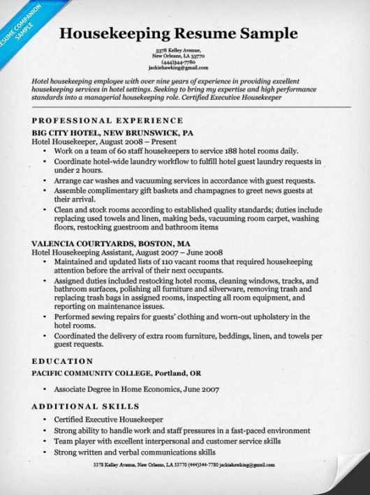 Housekeeping Resume Sample | Resume Companion