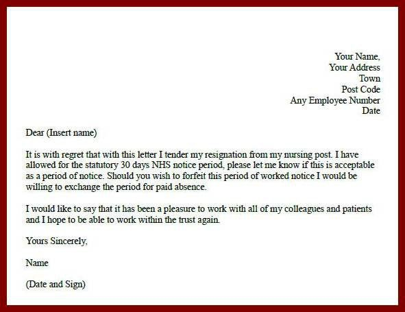 nursing resignation letter informatin for letter throughout ...