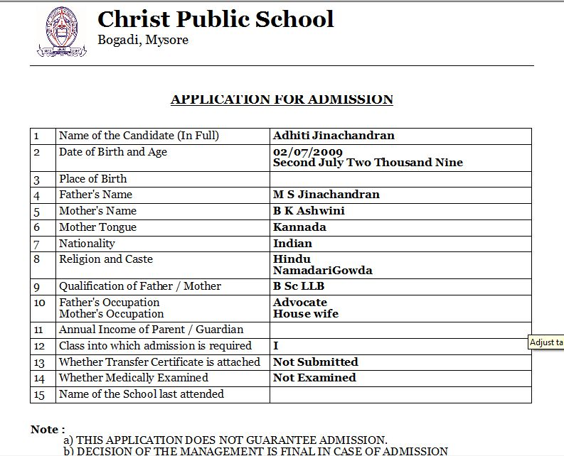 Admission Form - SchoolAdmin - MarvelSoft - Administration Simplified