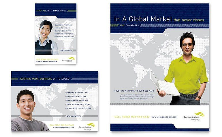 Global Communications Company Flyer & Ad Template - Word & Publisher
