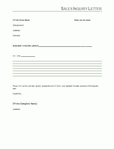 sales inquiry form template