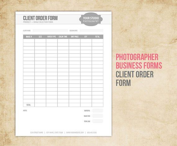 Photography Business Forms - Client Order Form for Photographers ...