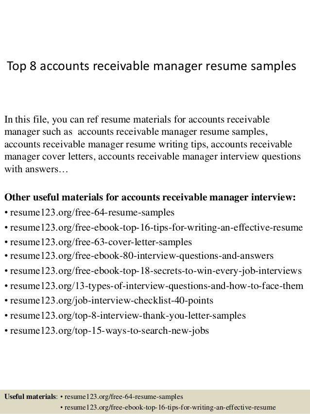 sample resume for accounts receivable clerk