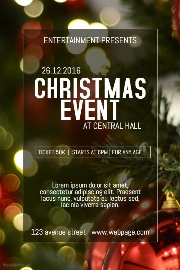 Christmas Celebration Event Poster Template. | Christmas Poster ...