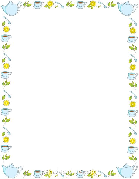 Printable tea border. Use the border in Microsoft Word or other ...