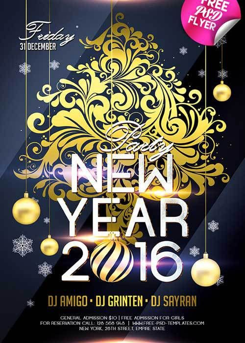 Download New Year 2016 Free PSD Flyer Template