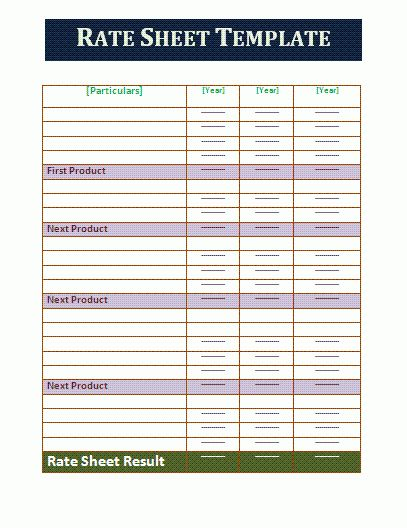 Rate Sheet Template | Free Business Templates