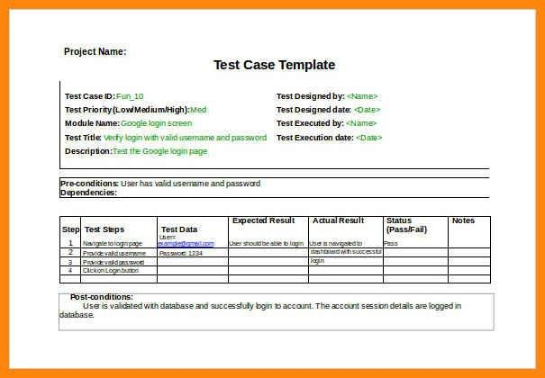 Test Case Template. Test Case And Its Sample Template System ...