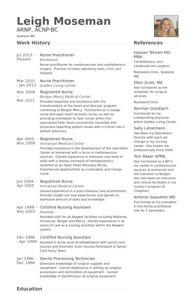 Nurse Practitioner Resume samples - VisualCV resume samples database