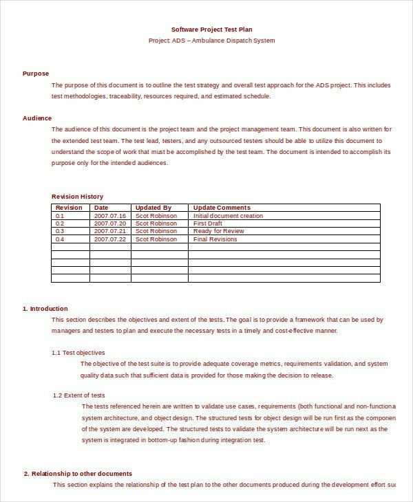 Test Plan Template - 11+ Free Word, PDF Documents Download | Free ...