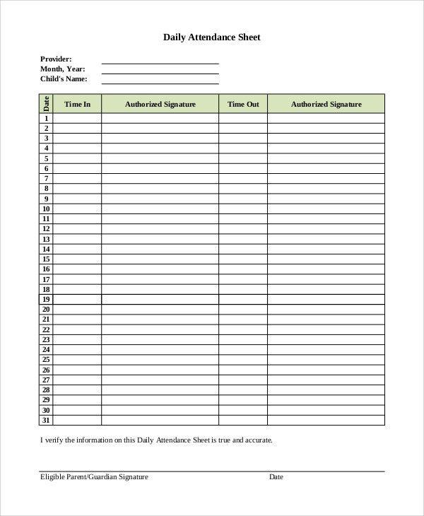 Attendance Sheet Sample
