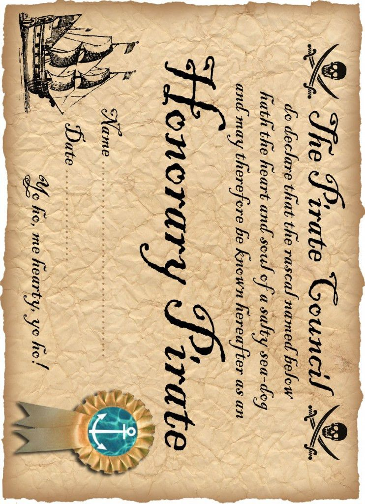 DEFINITELY! free printable Honorary Pirate Certificate | Completed ...