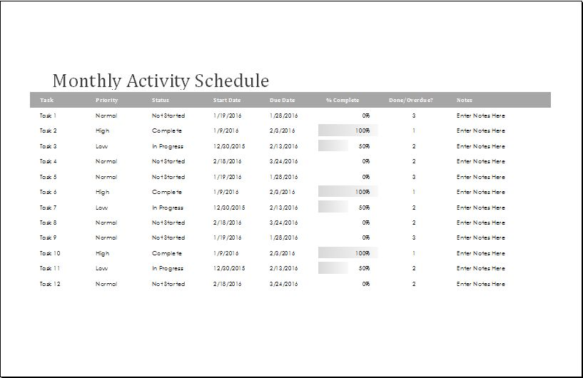 4 MS Word & Excel Customizable Schedule Templates | Word & Excel ...