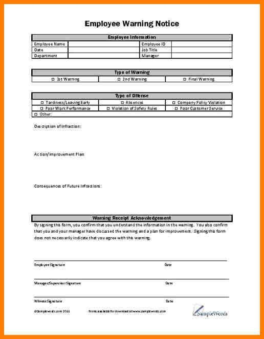 Employee Warning Form. Employee Warning Notice Form From Company ...