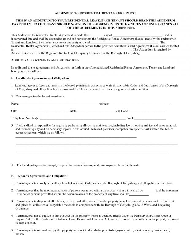 Standard Residential Lease Agreement Template Sample Printable ...