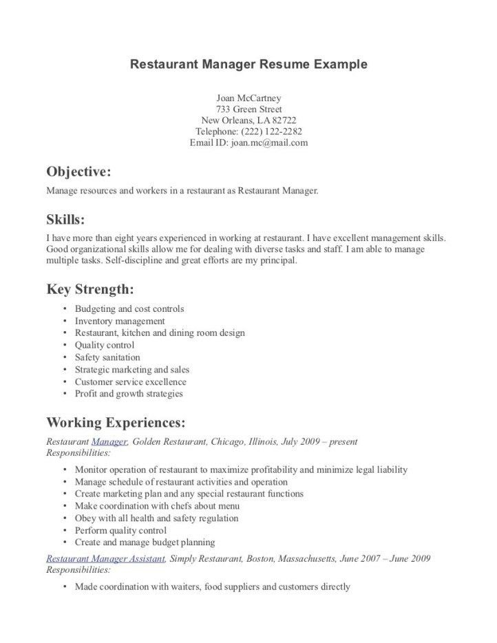 Resume For Restaurantresume restaurant manager resume template ...