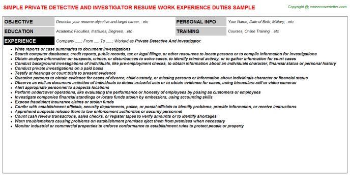 Private Investigator Cover Letter